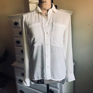Sheer White Button Down Blouse - NWOT Small